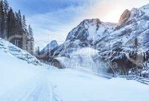 Mountain winter with snow cannons