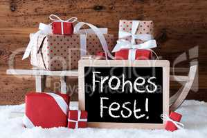 Sleigh With Gifts On Snow, Frohes Fest Means Merry Christmas