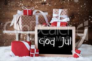 Sleigh With Gifts, Snow, Snowflakes, God Jul Means Merry Christm