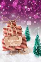 Vertical Sleigh On Purple Background, Joyeux Noel Means Merry Christmas