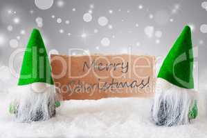 Green Gnomes With Card And Snow, Text Merry Christmas