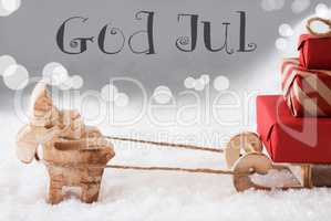 Reindeer With Sled, Silver Background, God Jul Means Merry Christmas