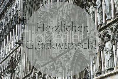 Church Of Trondheim, Glueckwunsch Means Congratulations