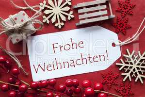 Label WIth Decoration, Frohe Weihnachten Means Merry Christmas