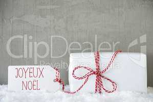 One Gift, Urban Cement Background, Joyeux Noel Means Merry Christmas