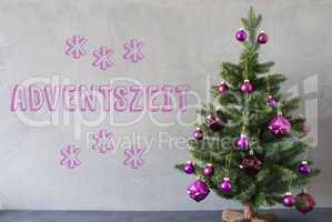 Christmas Tree, Cement Wall, Adventszeit Means Advent Seasons