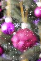 Vertical Blurry Christmas Tree With Rose Quartz Balls, Snowflakes