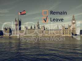Brexit referendum in UK vintage