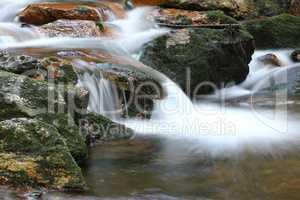 Water flowing over rocks - long exposure