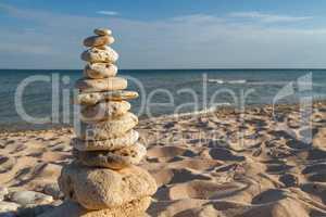 stone piles on the beach