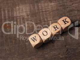 Dices with the word work