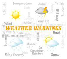 Weather Warnings Shows Meteorological Conditions And Caution