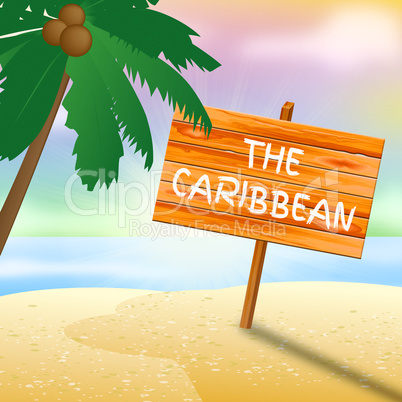 Caribbean Holiday Shows Tropical Holiday 3d Illustration