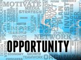 Opportunity Words Show Business Possibilities And Chances