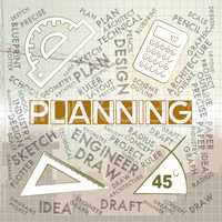 Planning Words Represents Mission Plans And Objectives