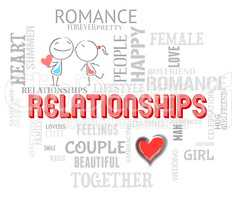 Relationships Word Shows Devotion Friendship And Love