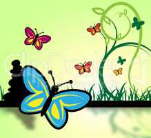 Field Of Butterflies Represents Grassland And Environment
