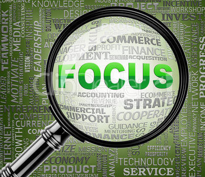 Focus Words Indicate Focused Concentration 3d Rendering