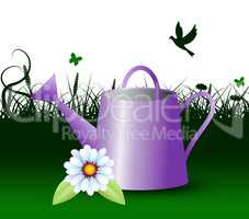 Watering Can Represents Horticulture Outdoors 3d Illustration