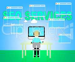 Seo Services Represents Search Sem 3d Illustration