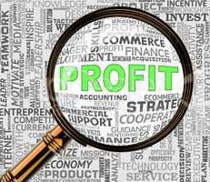 Profit Magnifier Shows Revenue Growth 3d Rendering