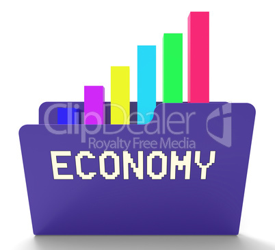 Economy File Shows Macro Economics 3d Rendering