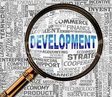 Development Magnifier Indicates Success Evolve 3d Rendering