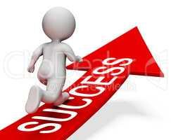 Success Arrow Indicates Winner Progress 3d Rendering