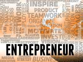 Entrepreneur Words Means Business Person And Enterprise