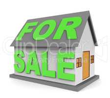 House For Sale Indicates On Market 3d Rendering
