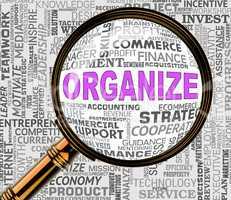 Organize Magnifier Shows Arranged Management 3d Rendering
