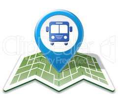 Bus Map Shows Public Transport 3d Illustration