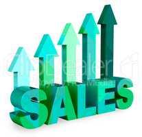 Sales Arrows Indicates Market Commerce 3d Rendering