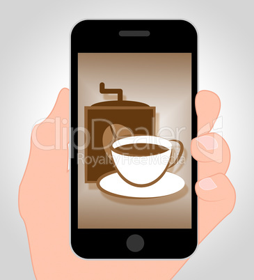 Coffee Online Means Internet Cafe 3d Illustration