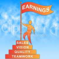 Earnings Flag Represents Earns Revenue And Profit