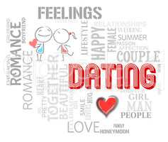 Dating Word Shows Find Love And Romance