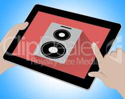 Music On Tablet Indicates Songs 3d Illustration