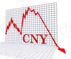 Cny Graph Negative Represents Foreign Exchange 3d Rendering
