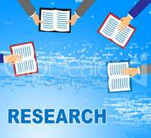 Research Books Represents Gathering Data And Analysis