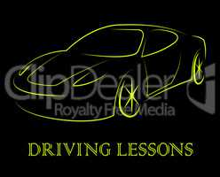 Driving Lessons Means Passenger Car And Automobile