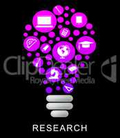 Research Lightbulb Means Gathering Data And Examination