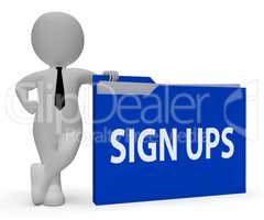 Sign Ups Folder Indicates Admission Paperwork 3d Rendering