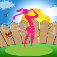 Golf Swing Woman Indicates Challenge Playing And Player
