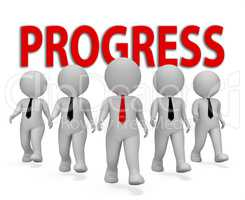 Progress Businessmen Shows Improvement Growth 3d Rendering