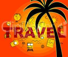 Travel Icons Indicates Tours Expedition And Trips