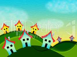 Countryside Houses Indicates Meadow Home And Environment