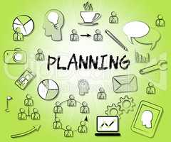 Planning Icons Represents Sign Objectives And Aspirations