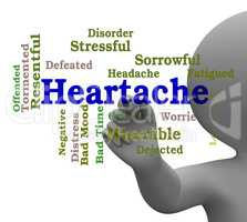 Heartache Word Represents Worry Agony 3d Rendering