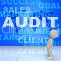 Audit Words Represents Finances Validation 3d Rendering