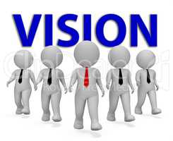 Vision Businessmen Means Objective Aspire 3d Rendering